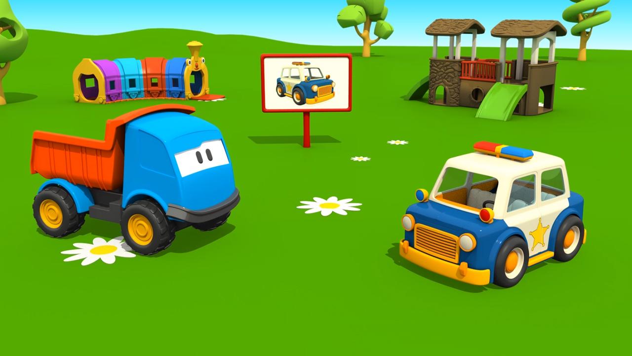 Leo il camion curioso e la macchina della polizia