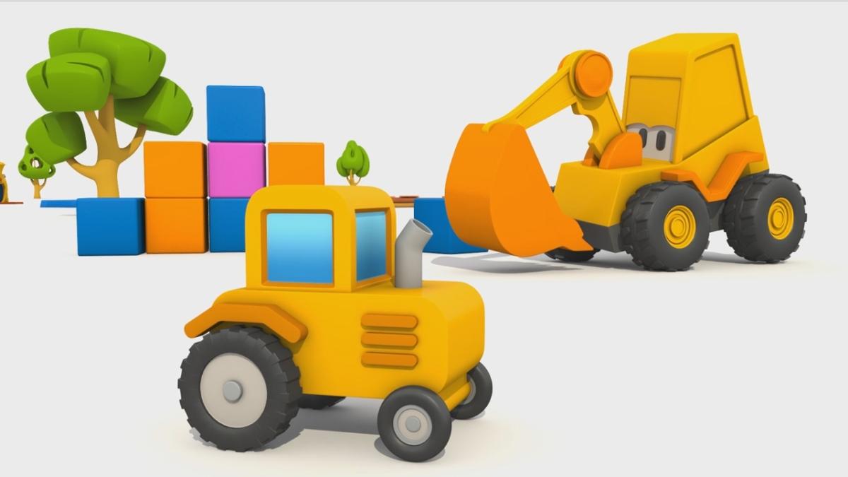 Cartoni animati con ruspe e trattori immagini da colorare