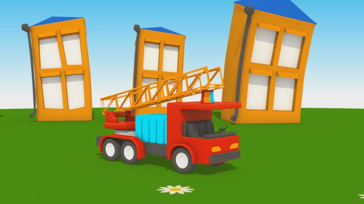 Cartoni animati per bambini leo junior dipinge il camion