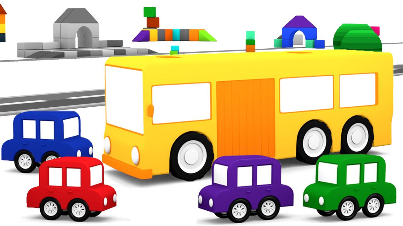 Macchinine colorate e l autobus il cartone dei piccoli