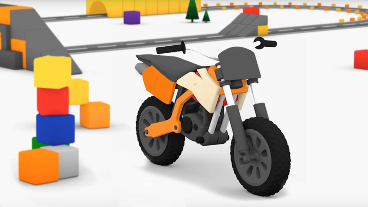 Macchinine colorate e la moto da cross il cartone dei